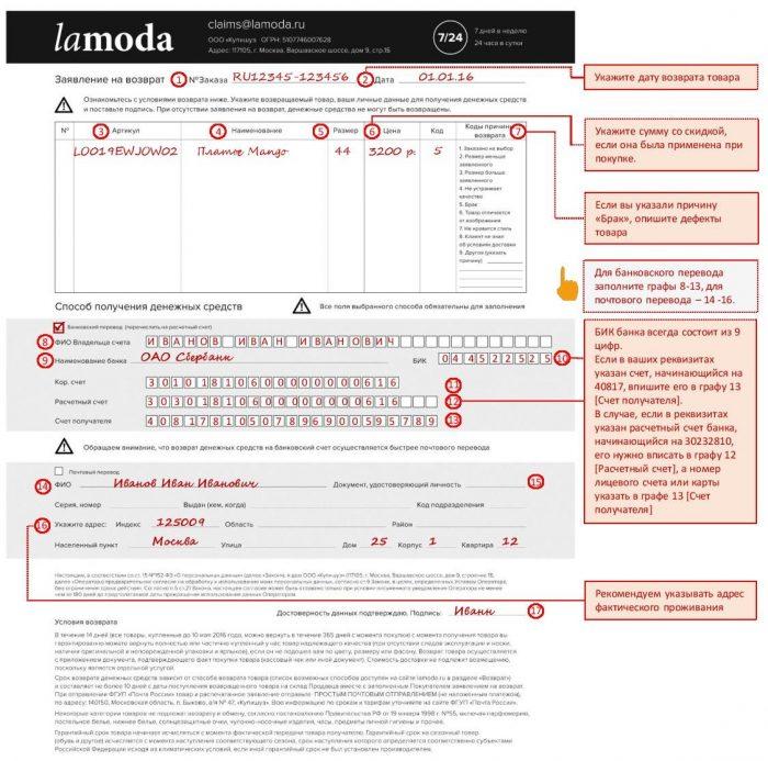 Отказ от заказа: заявление