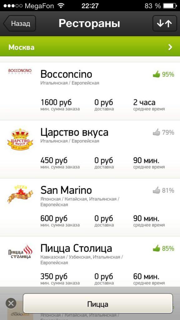 Delivery Club список ресторанов
