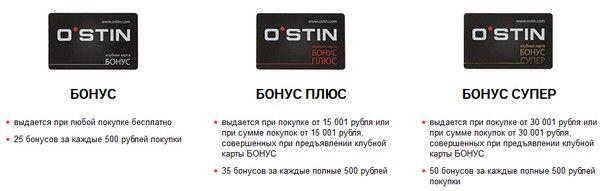 Бонусные карты ОСТИН