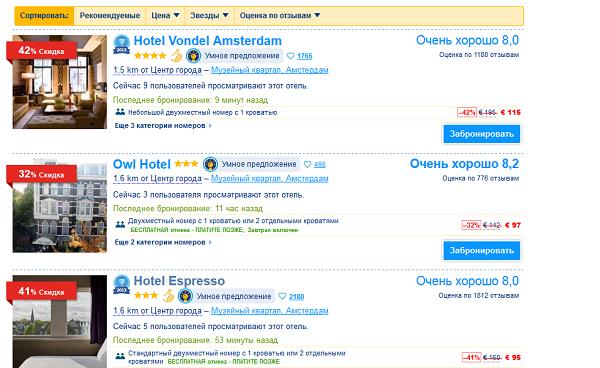 Описание отелей