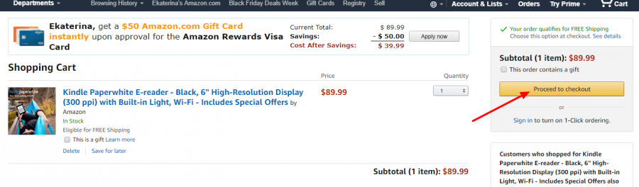 Как купить Kindle на Amazon