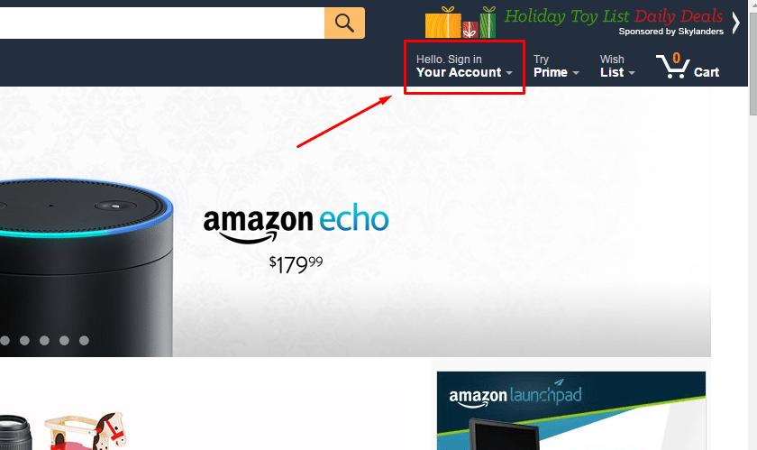 Вход на официальный сайт Amazon