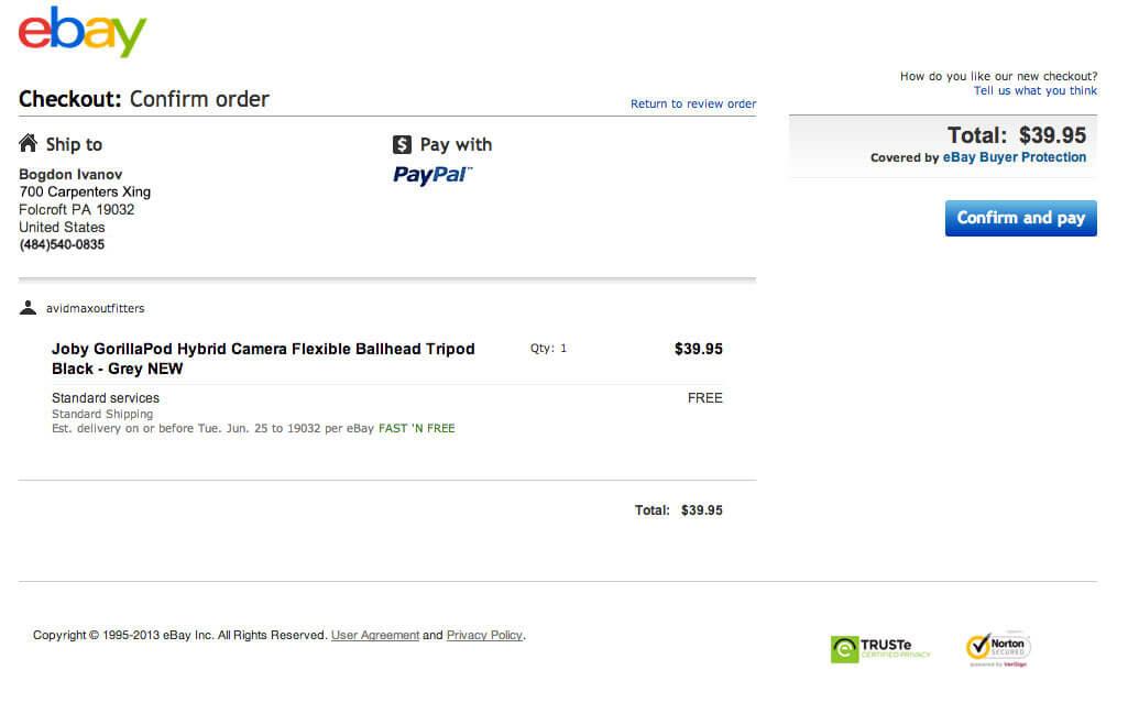 Оформить покупку на eBay с карты