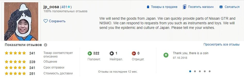 Профиль отзывов продавца eBay