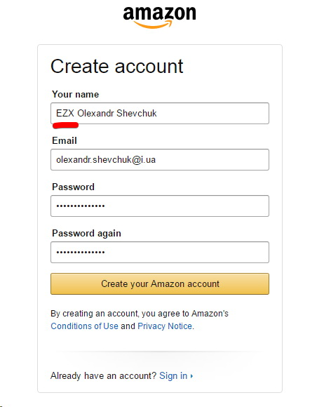 Create your Amazon