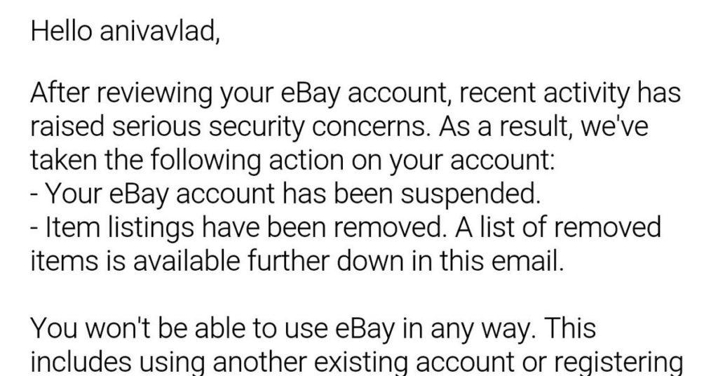 Сайт Ebay блокирует аккаунт