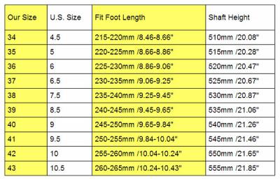Таблица размеров зимних сапог