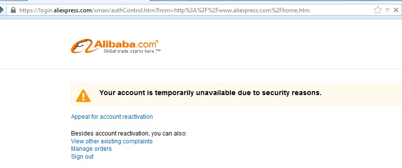 Алиэкспресс You account is temporarily unavailable due to security reasins