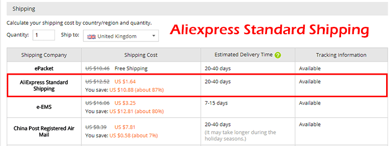 Доставка Aliexpress Standard Shipping